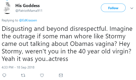 His Goddess ‏ @PatriotMama911 Follow Follow @PatriotMama911 More Replying to @EdKrassen Disgusting and beyond disrespectful. Imagine the outrage if some man whore like Stormy came out talking about Obamas vagina? Hey Stormy, weren't you in the 40 year old virgin? Yeah it was you..actress