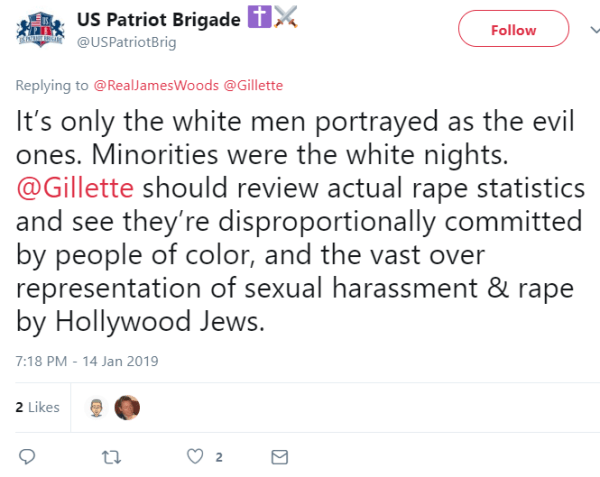 It's only the white men portrayed as the evil ones. Minorities were the white nights. @Gillette should review actual rape statistics and see they're disproportionally committed by people of color, and the vast over representation of sexual harassment & rape by Hollywood Jews.