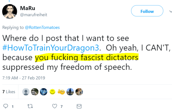 Where do I post that I want to see #HowToTrainYourDragon3.  Oh yeah, I CAN'T, because you fucking fascist dictators suppressed my freedom of speech.