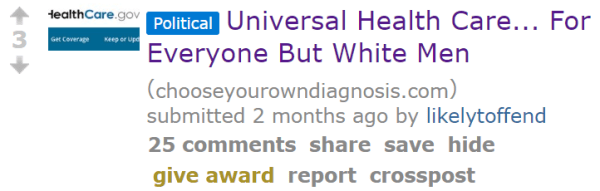 Universal Health Care... For Everyone But White Men