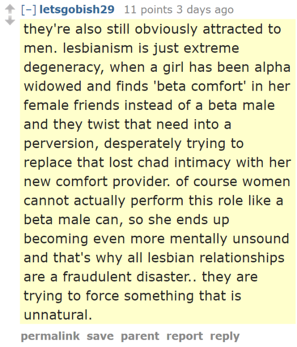 they're also still obviously attracted to men. lesbianism is just extreme degeneracy, when a girl has been alpha widowed and finds 'beta comfort' in her female friends instead of a beta male and they twist that need into a perversion, desperately trying to replace that lost chad intimacy with her new comfort provider. of course women cannot actually perform this role like a beta male can, so she ends up becoming even more mentally unsound and that's why all lesbian relationships are a fraudulent disaster.. they are trying to force something that is unnatural.