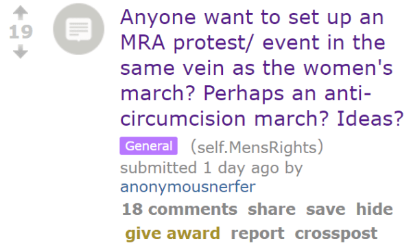 Anyone want to set up an MRA protest/ event in the same vein as the women's march? Perhaps an anti-circumcision march? Ideas?