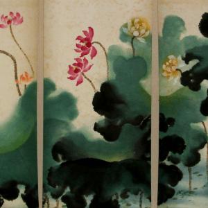 5 Piece Lotus Paintings