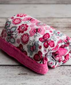 Custom Weighted Blanket Fuchsia/Butterflies Combo Rolled