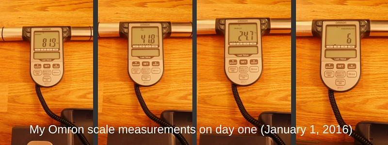 My Omron scale measurements on day one