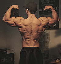 man flexing big back muscles
