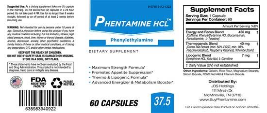 Phentamine HCL 37.5 Ingredients