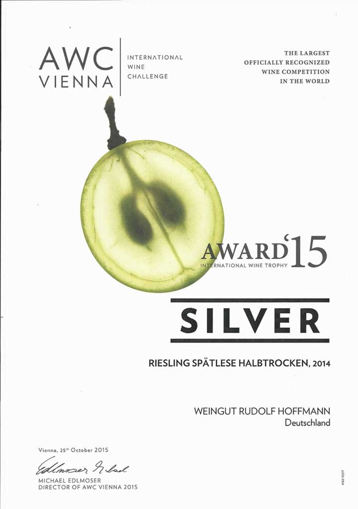 AWC Silver Award 2015 for Riesling Spätlese Halbtrocken 2014