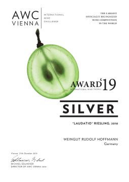 AWC Silber für Laudatio Riesling 2018