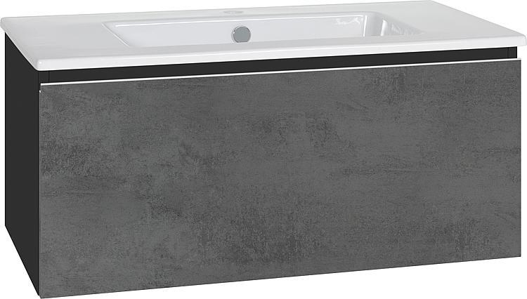Meuble Sous Vasque Vasque Ceram Serie Ela Noir Satin Facade Beton Fonce 910x420x510 Mm