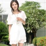 Set: Flutter-Sleeve Glitter Chiffon Dress + Lace Belt