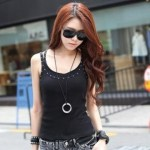 Studded Strap Ribbed Camisole