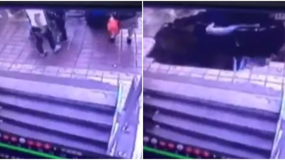 Before and after images of the sinkhole in China