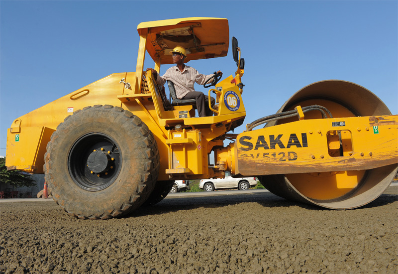 A road roller in action