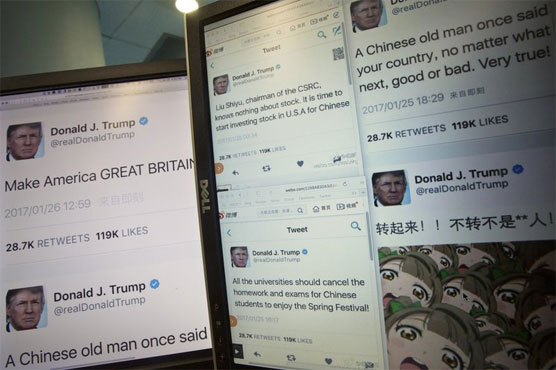 China Fake Donald Trump Twitter Tweet Accounts Chinese Lunar New Year