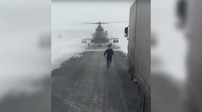 Kazakhstan helicopter lost directions truckers
