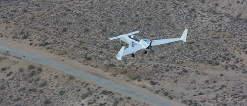 Record Breaking Electric Plane from above, over desert