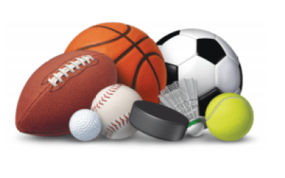 Various sports balls and other sports equipment