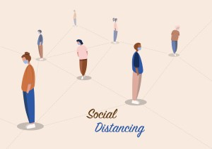 people practice social distancing to protect from COVID-19