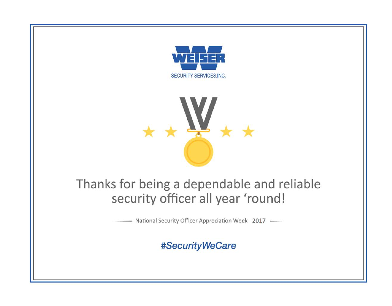 National Security Officer Week Sept 17  23 2017  Weiser Security Services Inc