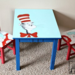 Dr Seuss Chair Rentals Erie Pa Kids Room Welcome To The Woods Hand Painted Table And Chairs Cat In Hat Thing 1 2