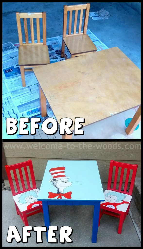 dr seuss chair folding vietnam table and chairs makeover cat in the hat hand painted furniture