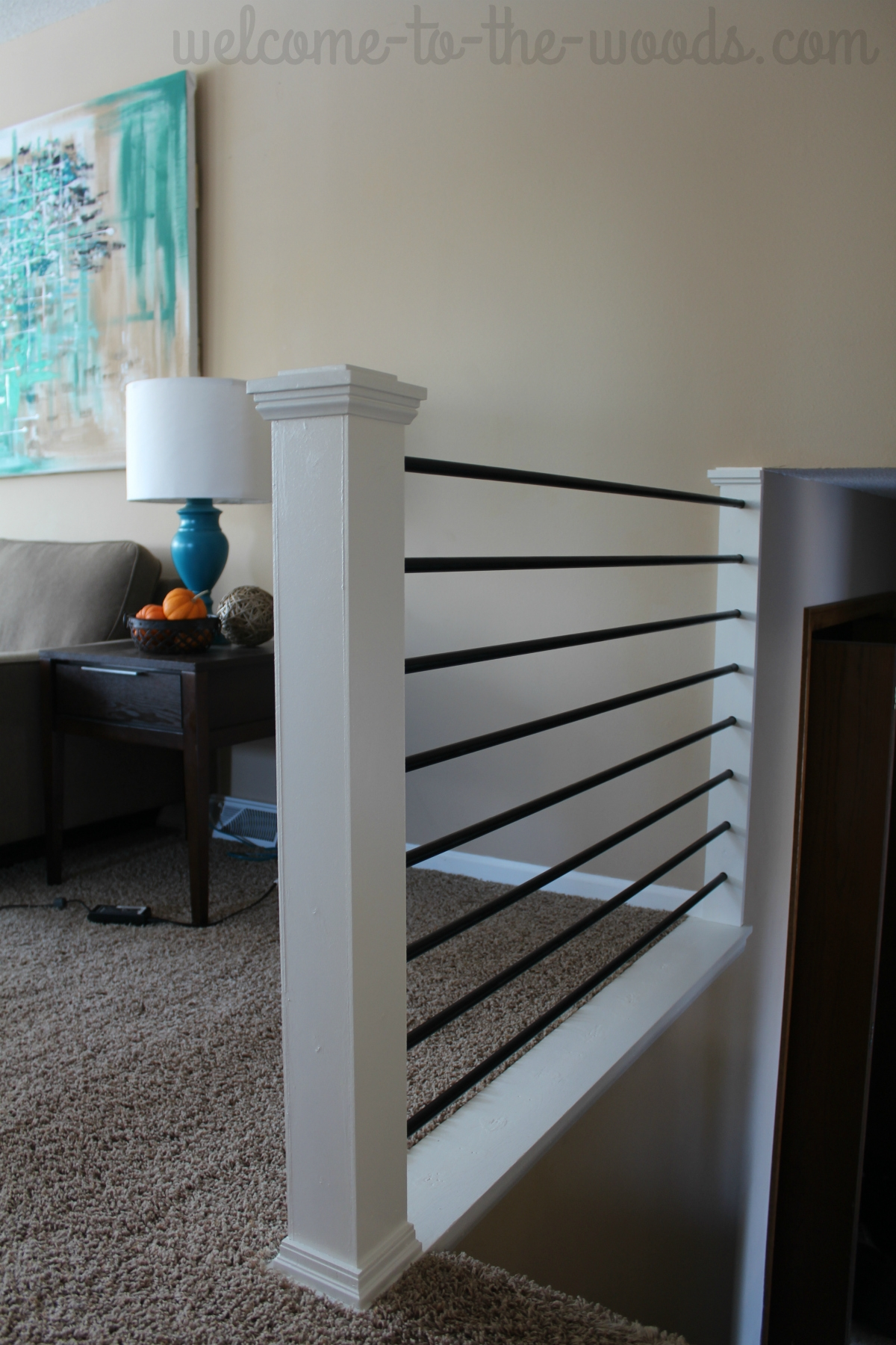 Stair Railing Diy Makeover   Diy Farmhouse Stair Railing   Country Style   U Shaped   Horizontal Bar   Upcycled   Low Cost