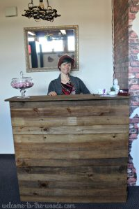Reclaimed Barn Wood Reception Desk Redo - Welcome to the Woods