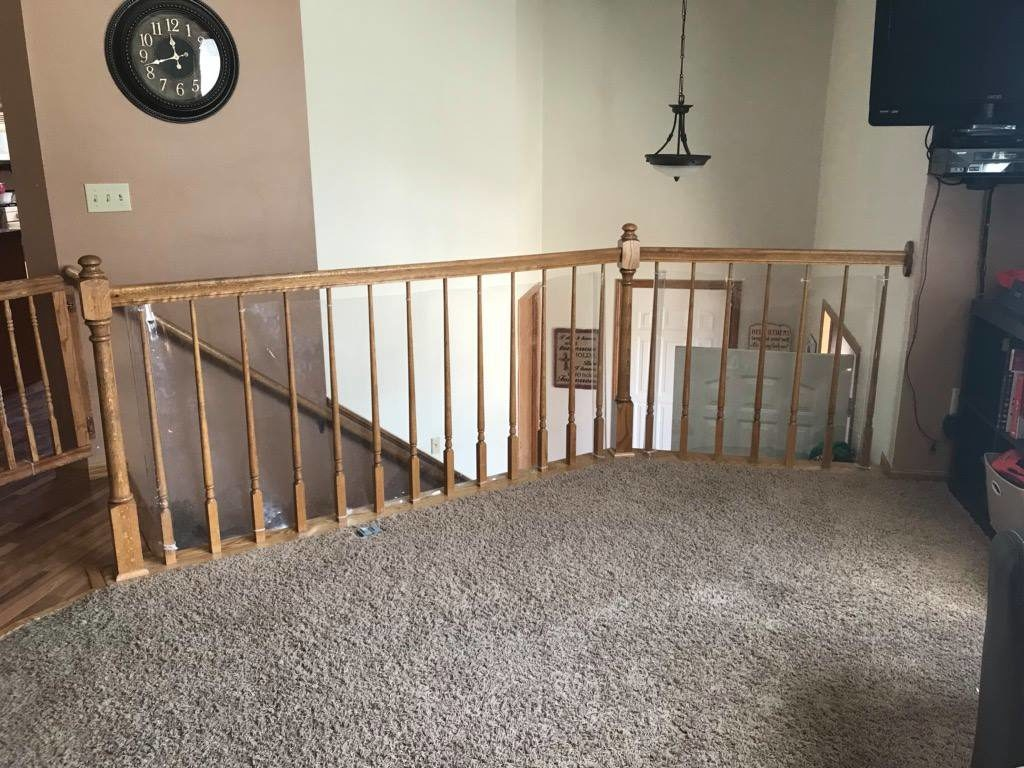 Diy Stair Railing Safety Redo | Stair Posts And Spindles | Stairway | Newel Post | Inexpensive | Rectangular | Railing