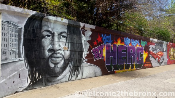 Tats Cru mural at the Andrew Freedman Home; a tribute to DJ Kool Herc and the 40th Anniversary of Hip Hop last year.