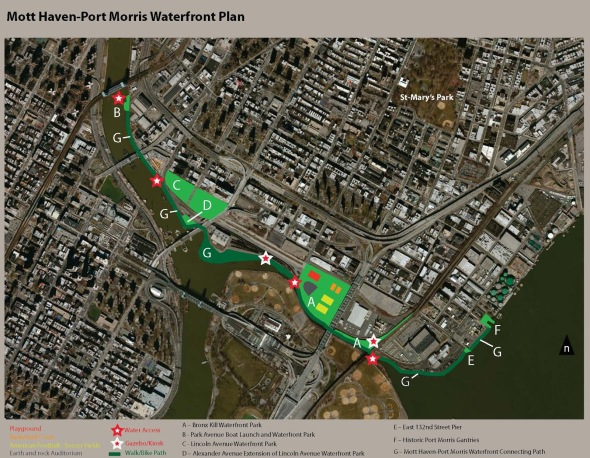 The Mott Haven - Port Morris Waterfront Plan which has received priority status by New York State Department of Environmental Conservation (#8 on the list)