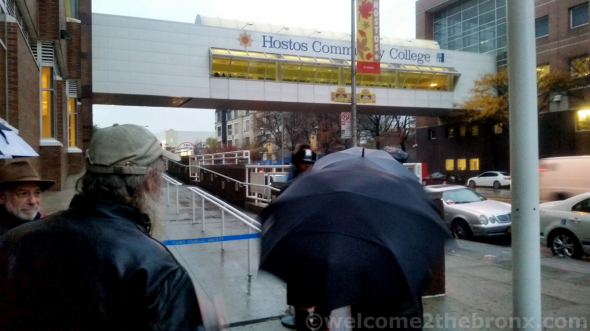 Residents were prevented from entering Hostos Community College as FreshDirect employees and supporters were allowed in.