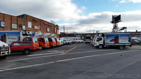 Broken Promises: 10 brand new DIESEL FreshDirect trucks awaiting delivery to the company which were discovered last December.  The company pledged to change to electric but that still will not mitigate the traffic situation caused by all of their trucks.