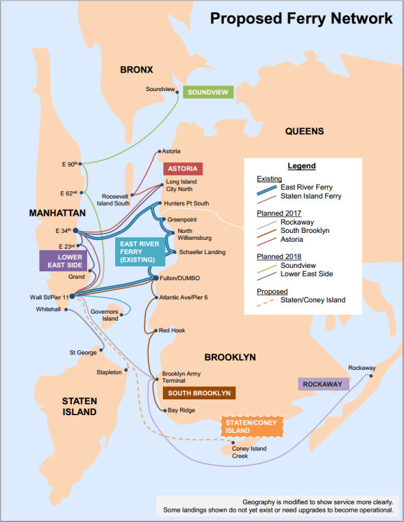 Proposed new ferry service and routes.