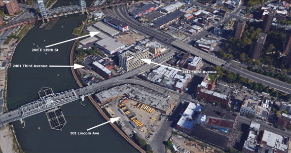 4 properties in the Special Harlem River Waterfront District in the Lower Concourse Rezoning District have fetched $157,234,000 in sales over 2 1/2 years with 3 of the properties selling or under contract  within the past 2 2/12 months. / Image From Google Earth
