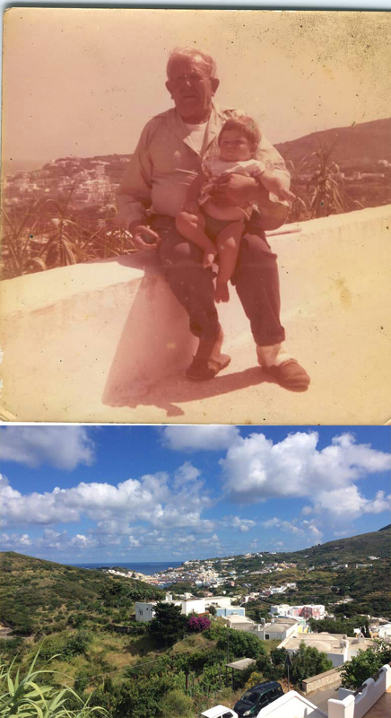 Pictured above is Aniello Conte sitting on his porch. Below is the view from the same porch decades later.