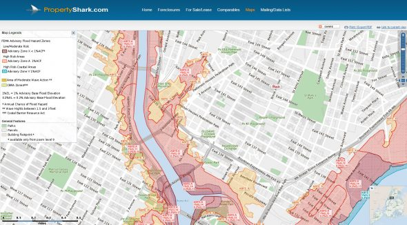 All properties are located on High Risk FEMA Flood Zones (Post Sandy Update) / Map Via PropertyShark