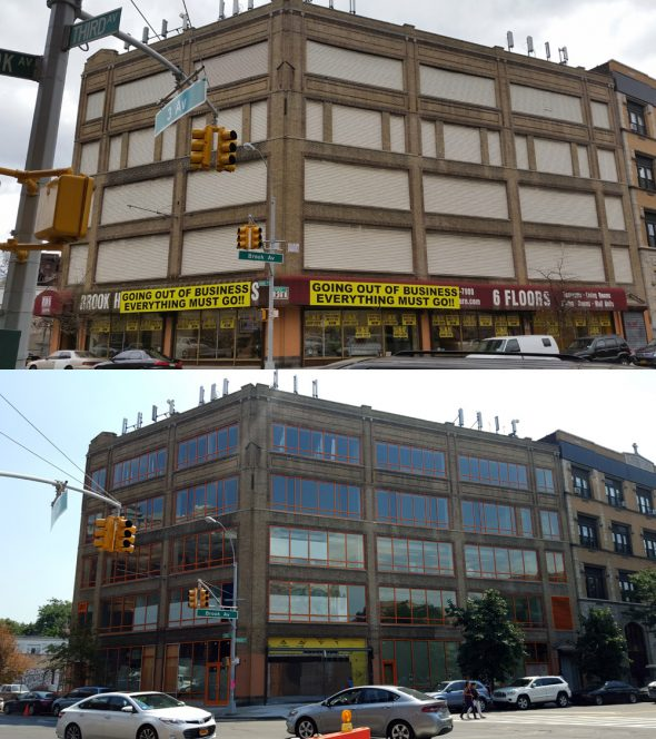 Before and after pic of the Old Brook House Furniture Store which is now the new home of BOOM!Health.