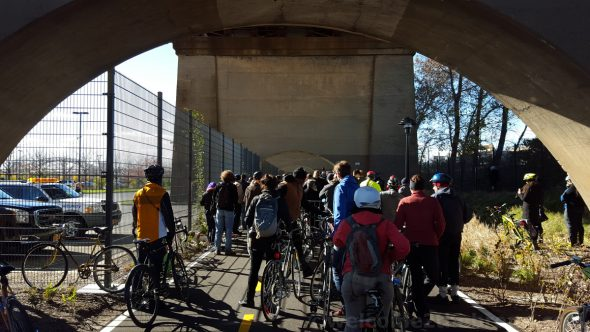 Hundreds of folks turned out for the grand opening of the Randall's Island Connector despite the chilly weather.