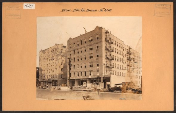 """Apartment buildings under construction along Allerton Avenue and White Plains road (you can see a sliver of the 2 line to the left of the image) in 1930. Image Credit: Irma and Paul Milstein Division of United States History, Local History and Genealogy, The New York Public Library. """"Bronx: Allerton Avenue - White Plains Road"""" The New York Public Library Digital Collections."""
