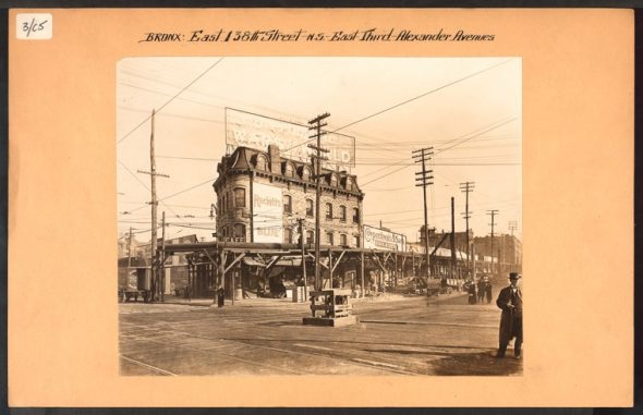 "Northeast corner of E 138th Street looking towards Alexander Avenue from 3rd Avenue in 1915. The 6 IRT Line was currently under construction./Image Irma and Paul Milstein Division of United States History, Local History and Genealogy, The New York Public Library. ""Bronx: 138th Street - 3rd Avenue"" The New York Public Library Digital Collections. 1915."