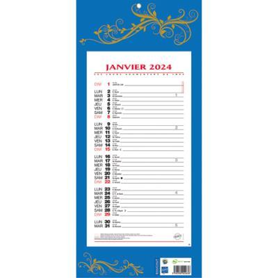 Calendrier 2019 Mensuel Sur Plaque 19 X 42 Cm Bleu