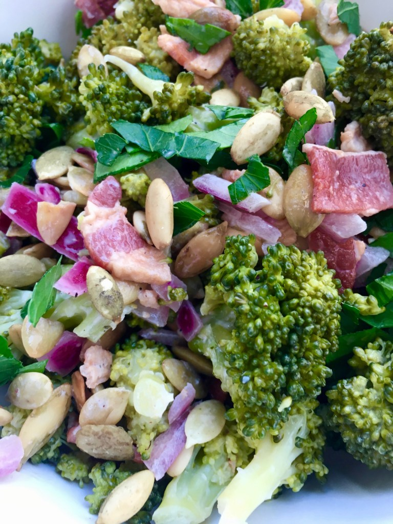 MAYO-FREE Broccoli Bacon Salad on a plate