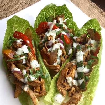 Chicken Fajita Wraps with Cilantro-Lime Sauce