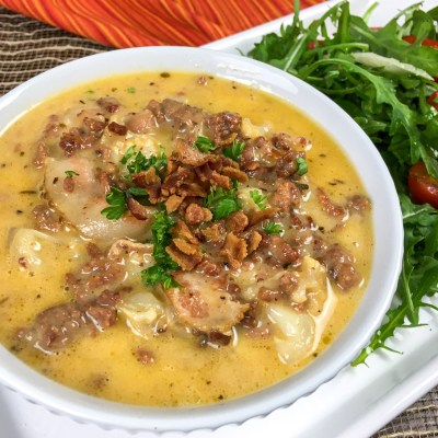 One Skillet Keto Bacon Cheeseburger Soup
