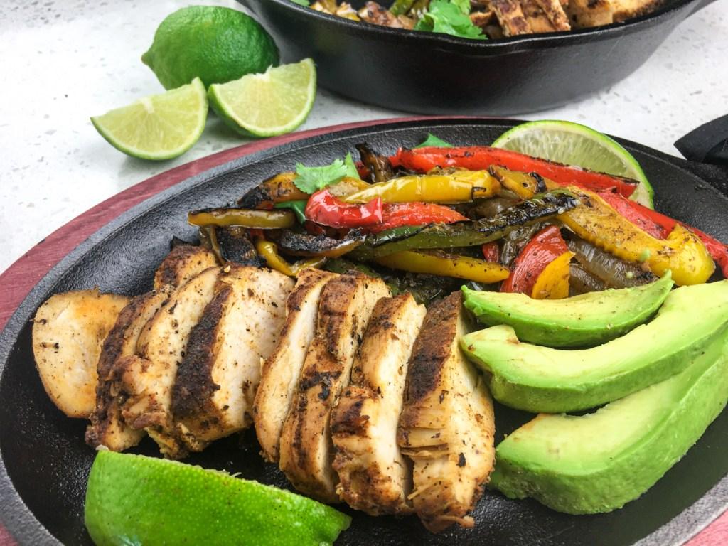 Chicken Fajitas, vegetables and avacdo