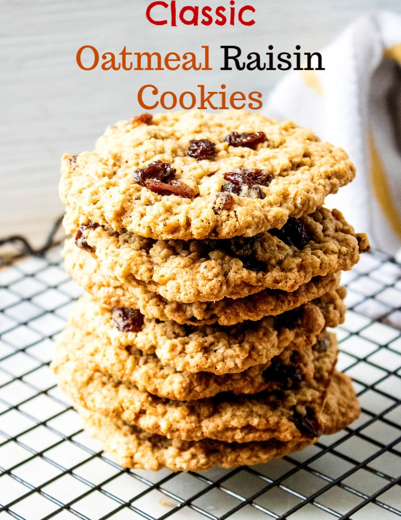 Classic Oatmeal Raisin Cookies on a wire rack