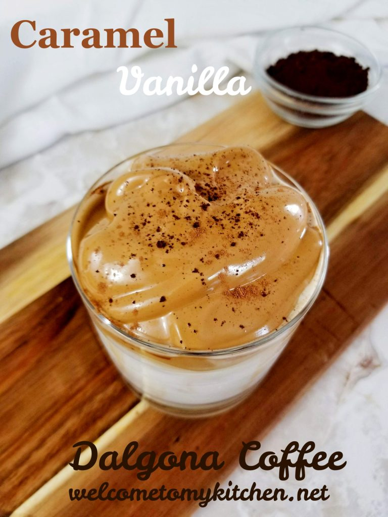 Caramel Vanilla Dalgona Coffee in a glass