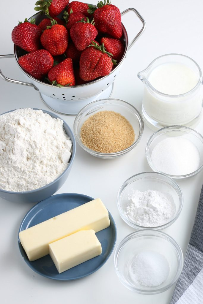 Ingredients for Homemade Strawberry Shortcake