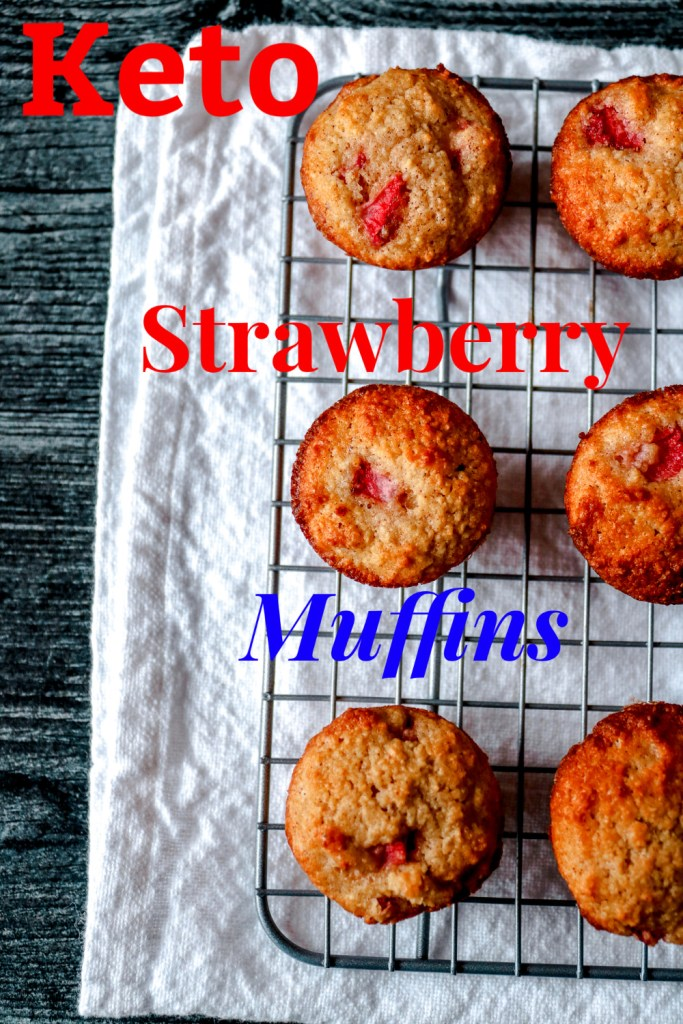 Keto Strawberry muffins cooling on a wire rack.